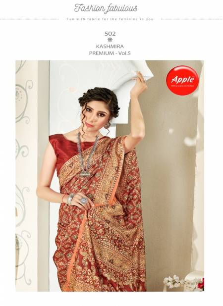 Apple Kashmiri Premium 5 Designer Latest Fancy Festive Wear Digital Printed Pashmina Silk Saree Collection