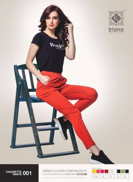 CIGARATTE PANTS BY KIANA BEAUTIFUL STYLISH FANCY COLORFUL PARTY WEAR & ETHNIC WEAR COTTON LYCRA PANTS AT WHOLESALE PRICE (Available Size - 28,30,32,34)