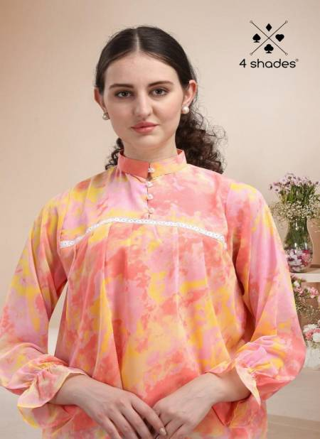 4 Shades Western Top 5 Latest fancy Designer Party Wear Georgette   Ladies Top Collection