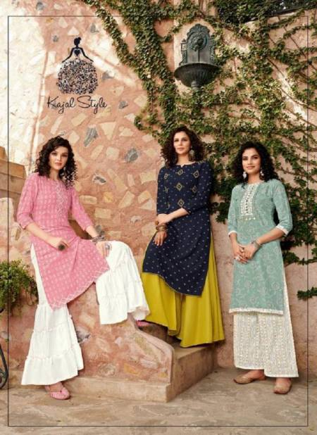 Kajal Style Fashion Galaxy 2 Stylish Look Designer Party Wear Kurti With Bottom Collection