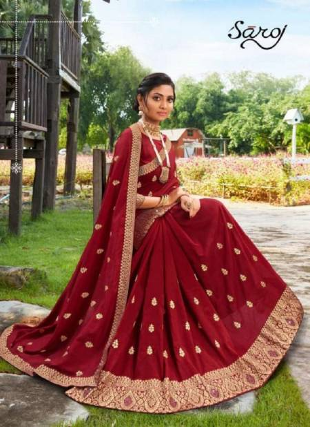 Saroj Jyotika Vichitra Silk Festive Wear Designer Wedding Saree Collection at Wholesale Price