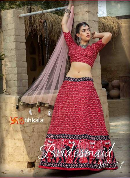 BRIDESMAID VOL 11 Latest Designer Fancy Festive Wear Heavy Art Silk Printed Laheng Choli Collection