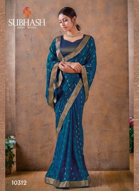 Subhash Georgette Foil Work Saree with Dupian and Brocade Blouse Designer Rich Look Wedding Wear and Party Wear Saree Collections