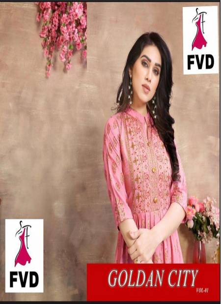 FVD Golden City Latest Casual Wear Reyon 14 kg With Foil Print Long Gown Collection