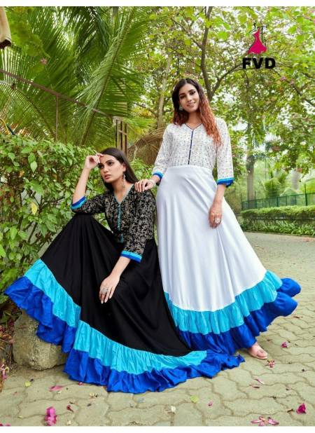 FVD London Dream Vol 1 Latest Casual Wear Designer Reyon 14 kg With Print Long Gown Collection
