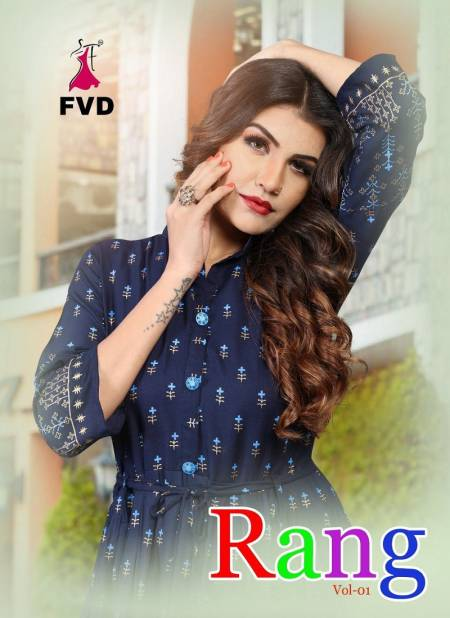 FVD Rung Vol 01 Latest Designer Foil Printed Rayon Long Gown Collection