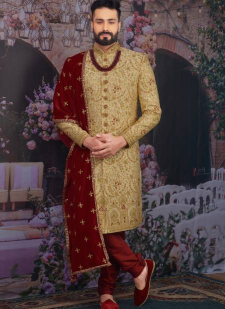 New Wedding Wear Designer Fancy Heavy Banarasi Jacquard Silk Embroidery Work Sherwanis Collection