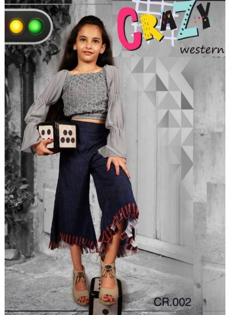 Crazy Weastern Designer Two Piece Childrens Wear Faux Georgette Top With Pant Collection