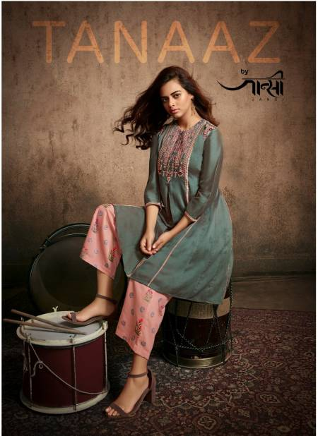Jansi Tanaaz Designer Exclusive Berry Silk With Embroidery Work Kurti With Bottom Collection