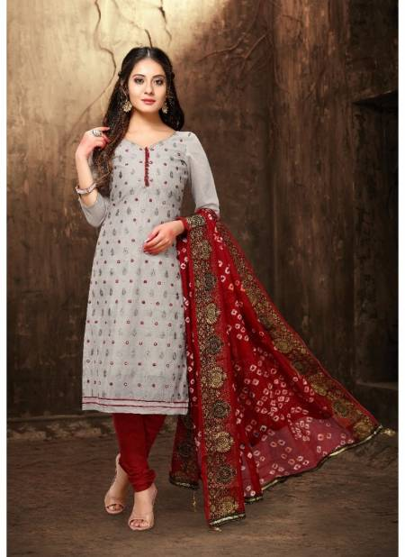 Viva Fashion Bandhani Latest Festival Wear Traditional Chanderi Dress Material Collection With Chiffon Dupatta