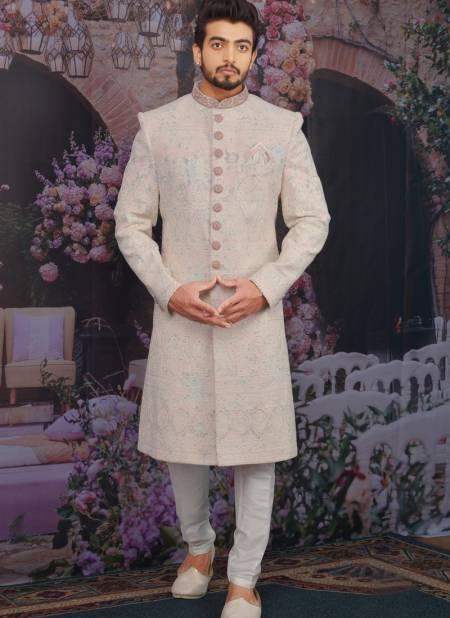 Latest Wedding Wear Designer Fancy Heavy Georgette Lucknavi Work Embroidered Work Sherwanis Collection