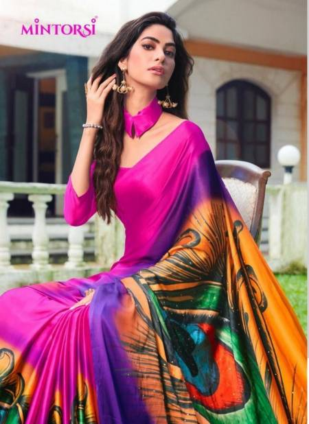 MINTORSI MOR PANKH Latest Fancy Designer Heavy Casual Wear Satin Silk With Exclusive Hand Print And Stone Diamond Work Saree Collection