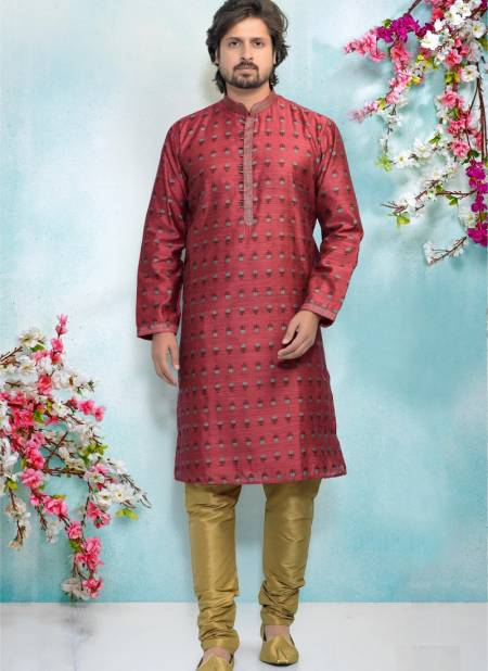 Fancy New Party And Function Wear Traditional Pure Jaquard Silk Brocade Kurta Pajama Redymade Collection