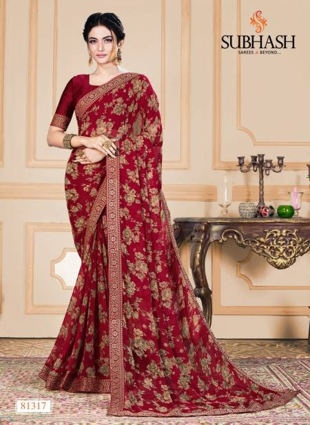 Subhash Saree Heavy Georgette And Pure Chiffon Designer Printed Work Elegant Regular Wear Saree Collections
