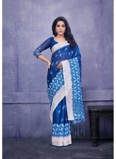Apple Indigo Latest Exclusive Pure Linen Casual Wear Saree Collection
