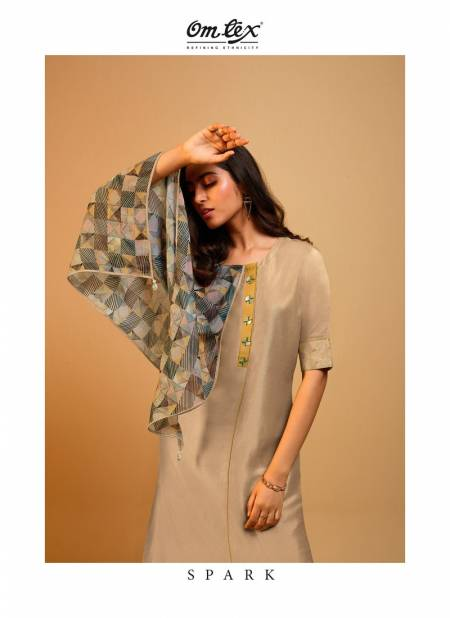 Omtex Spark Exclusive Collection Of Designer Stylish Party Wear Naisa Silk Long Dress With Scarf
