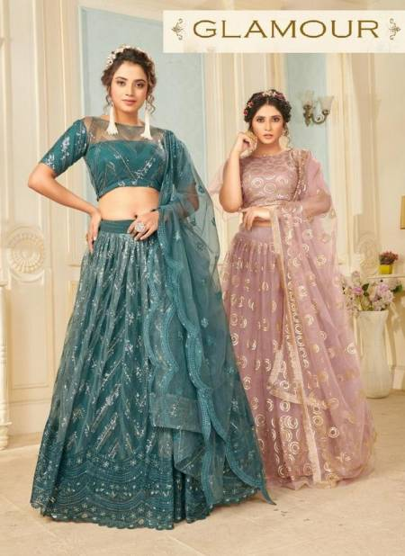 PANVI GLAMOUR Latest Fancy Heavy Designer Wedding Wear Soft Net Sequence Thread Dori Work Lahenga Choli Collection