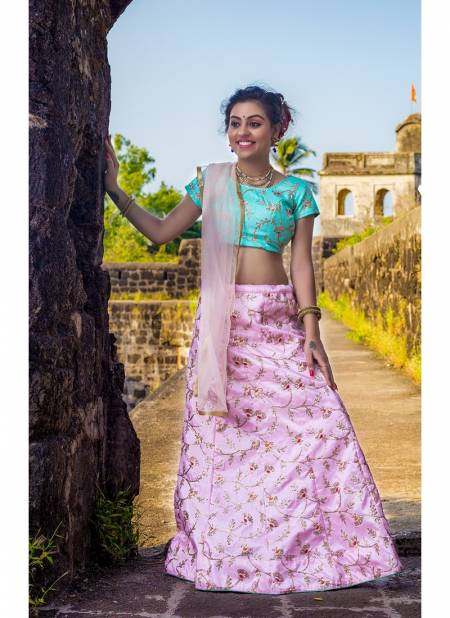 VARNI PARI LATEST DEIGNER SILK EMBROIDERED SEMI STITCHED PARTY WEAR KIDS LEHNGA COLLECTION