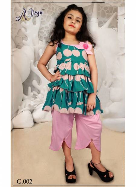 Arya Guddee Latest Mix Rayon Top with Plazzo Printed Kids Wear Collection