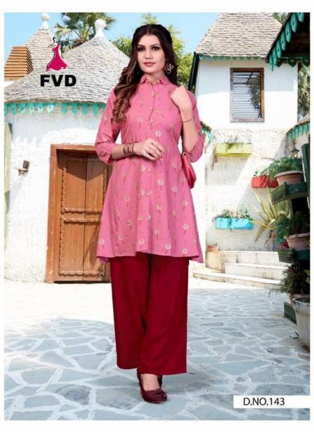FVD 7 Horse Latest Designer Festive Wear Rayon Block Foil Print Open Button With Gaaj Kurti With Plazoo Collection