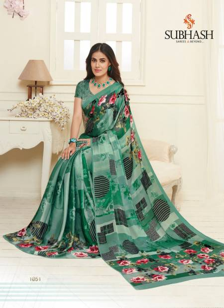 Subhash Saree Kiara Designer Printed Work Crepe Satin and Georgette Regular Wear and office Wear Saree Collections
