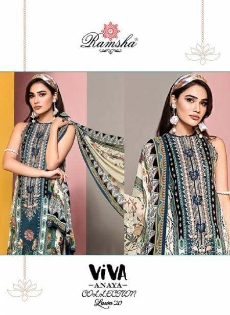 Ramsha Viva Anaya 2020 Latest Digital Print Embroidered Cambric Cotton Pakistani Salwar Suits Collection