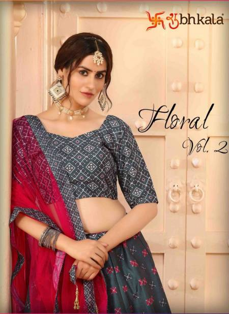 SHUBHKALA FLORAL VOL 02 Fancy Designer Latest Festive Wear Heavy Art Silk Floral Digital Printed Lehenga Choli Collection