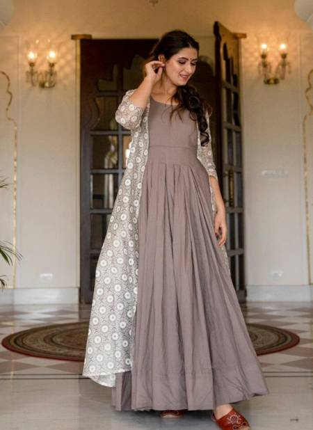 STYLISHTA STYLISHTA VOL-11 Fancy Festive Long Flair Stylish Gown With Digital Print Jacket Design Pure Maslin Collection