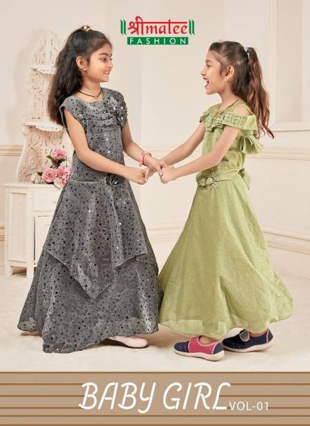 Shreematee Baby Girl Vol 1 Latest Collection Of Gown Style Fancy Fabrics With Handwork & Stone Work Kids Wear For Girls