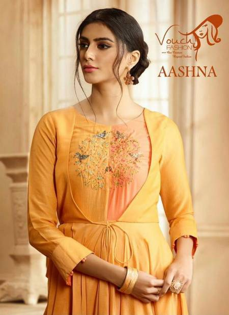 VOUCH AASHNA Latest Fancy Designer Heavy Festive Wear Pure Rayon Cotton Embroidery With Hand Work Gown Collection