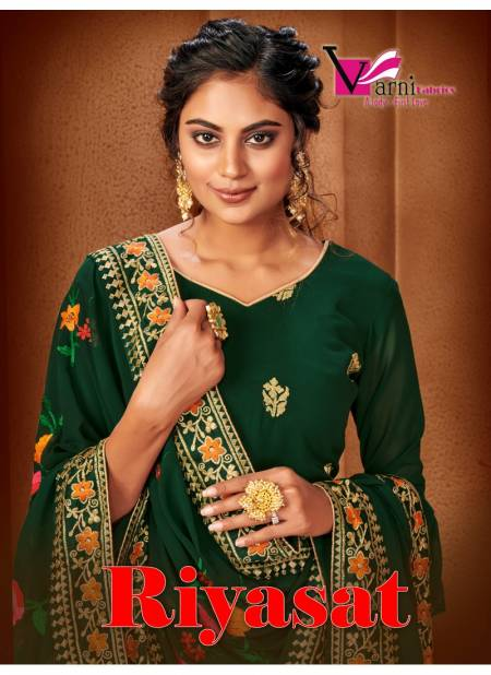 Varni Riyasat Latest Designer Festive Wedding Wear Faux Georgette Heavy Embroidered Dress Mterial Collection