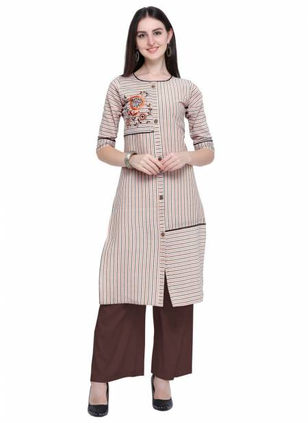 Velentino Rayon Latest Designer Party Wear Casual Wear Embroidery And Embellished Work Stylish Kurtis With Plazzo Collections