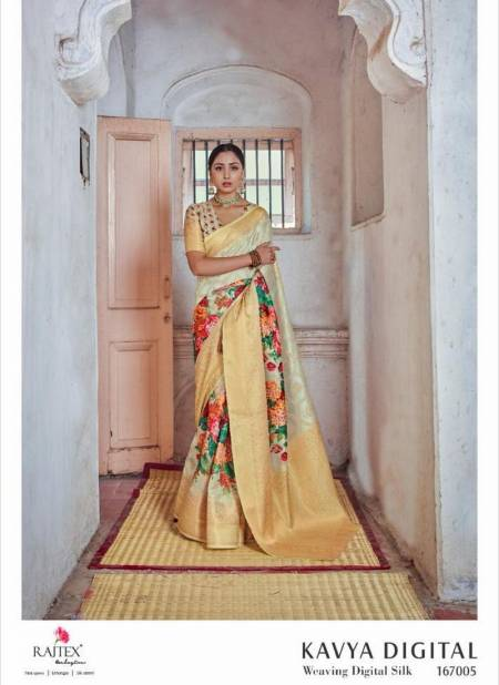RAJ TEX KAVYA DIGITAL Latest Fancy Designer Casual Wear Weaving Silk Digital Print Saree Collection