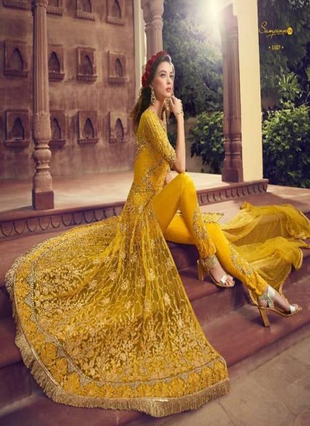 Sampann Saga Designer Wedding Party Wear Net Butterfly Gown Collection 5501-5507