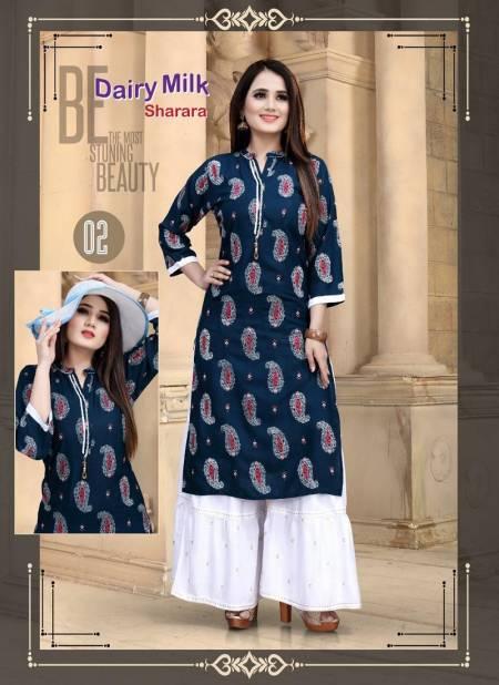 Aagya Dairy Milk Sharara 2 Latest Fancy Designer Casual Wear Rayon Kurti With Bottom Collection