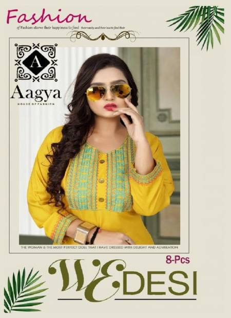 Aagya Wedesi Fancy Designer Ethnic Wear Rayon Embroidered Straight Kurtis Collection