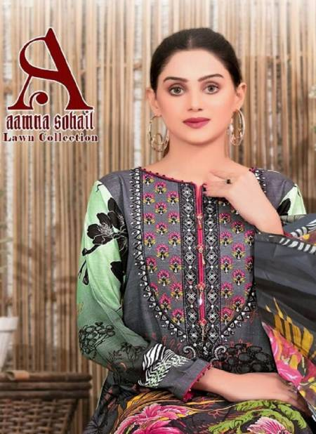 Aamna Sohail Latest Fancy Designer Casual Regular Wear Lawn Collection Printed Karachi Dress Materials Collection