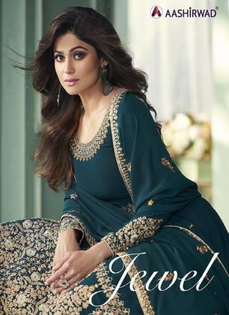 AASHIRWAD JEWEL Latest Fancy Designer Festive Wear Real Georgette Heavy Worked Salwar Suit Collection