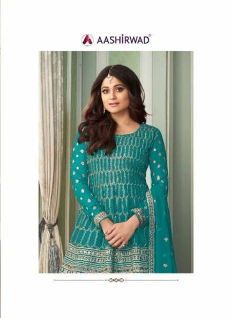 Aashirwad Peplon Exclusive Latest Fancy Festive Wear Designer Heavy Real georgette Salwar Kameez Collection