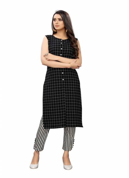 Ab Kurti 153 Fancy Casual Wear Cotton Checks Kurti With white black lining Bottom Collection