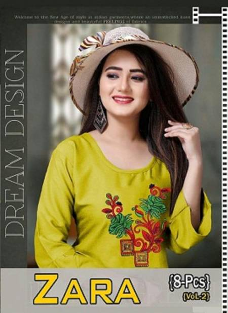 Agya Zara Vol 2 Latest Designer Rayon Party Wear Round Neck Three Fourth Sleeve Kurti Collection