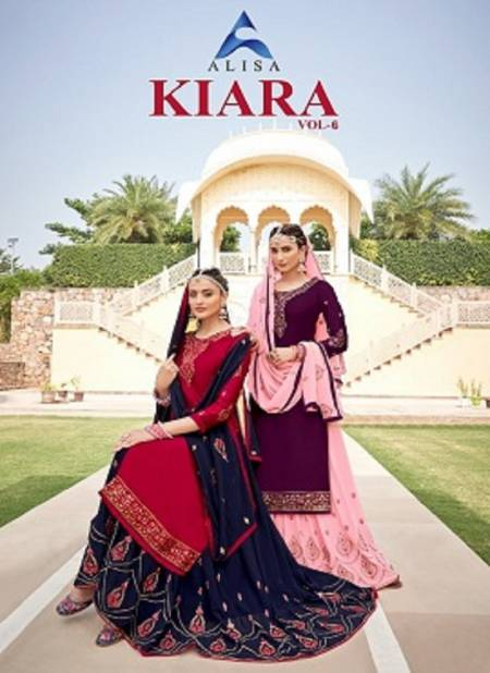 Alisa Kiara 6 Festive Wear Latest Designer Kurta With Georgette Bottom Salwar Suits Collection