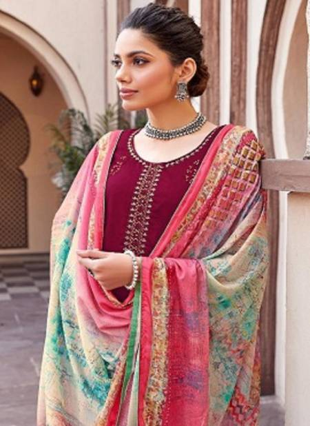 Alok Alexa Latest fancy Casual wear Pure jam Dyed with Fancy Embroidery Work Designer Dress Material Collection