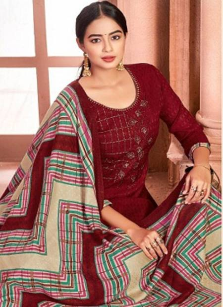 Alok Shan E Panjab 3 Latest Self Print with Stitched Lace Pure Wool Pasmina Designer Dress Material Collection