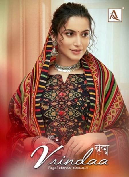 Alok Vrindaa Pure Ready Made Wool Pashmina Digital Print with Swarovski Diamond Work Plazzo Suit Collection