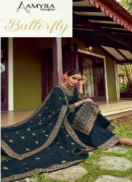 Amyra Designer Butterfly 101 Series Satin Georgette With Heavy Exclusive Embroidery With Fancy Diamond Work Embroidery Salwar Kameez Collection