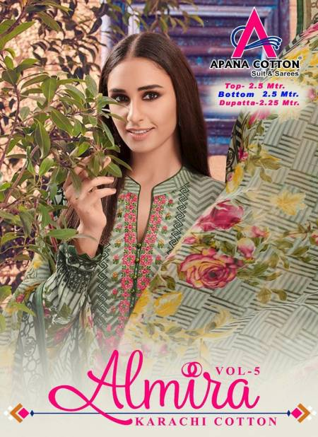 Apna Cotton Almira 5 Latest fancy Designer Regular wear Printed Karachi Dress Materials Collection