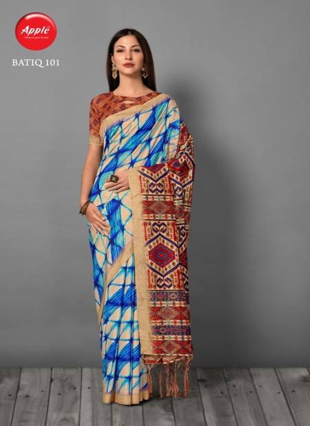 Apple Batiq Latest Fancy Designer Regular Casual Wear Printed Bhagalpuri Silk Sarees Collection