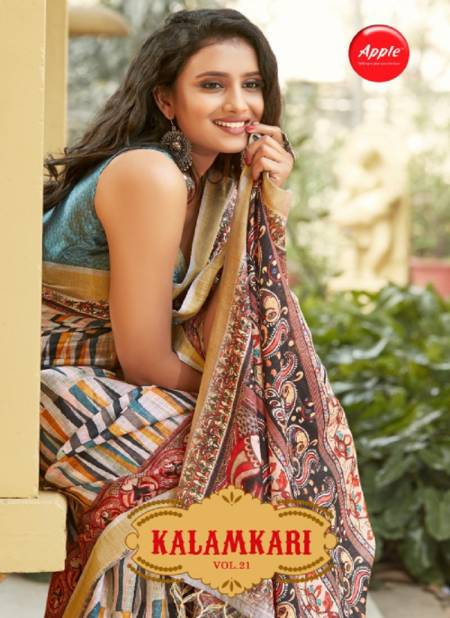 Apple Kalamkari 21 Latest Fancy Designer Casual Wear Soft Cotton Digital Printed Saree Collection