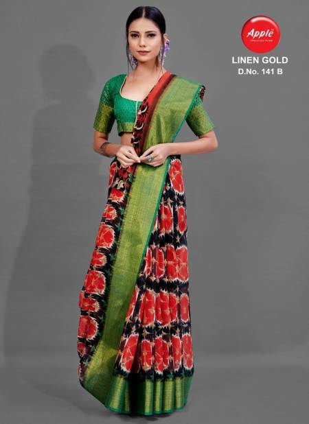 Apple Linen Gold 141 Latest Daily Wear Printed Soft Linen Saree Collection